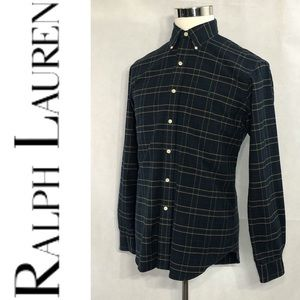 RALPH LAUREN Men's Windowpane Dress Shirt Size M